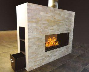 I termocamini a legna Staffieri, modello P3 Mega Lungo, possono essere personalizzati con rivestimenti a vostro piacere
