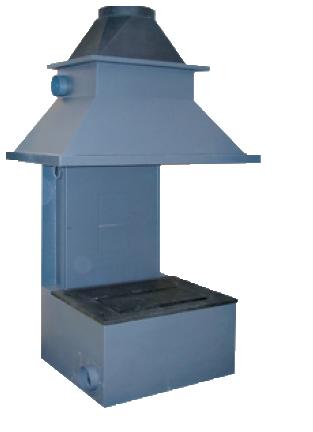 I termocamini Polyflam sono realizzai in acciao corten e mattoni refrattari ad alta efficienza