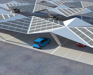Pannelli fotovoltaici installati sulla copertura di un parcheggio per auto